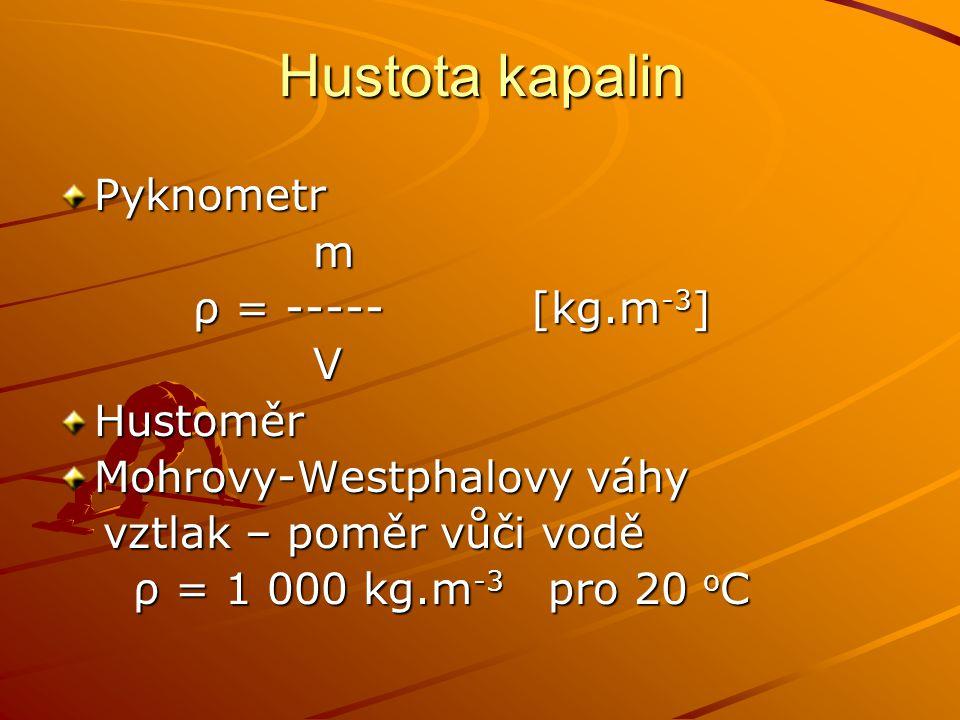 Hustota kapalin Pyknometr m ρ = ----- [kg.m-3] V Hustoměr